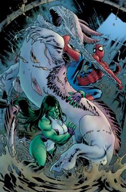 Avenging Spider-Man (2011) #7, drawn by Stuart Immonen and Wade Von Grawbadger